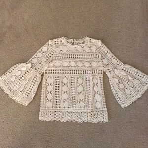 Crochet Top with Bell Sleeve